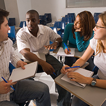group of students conversing